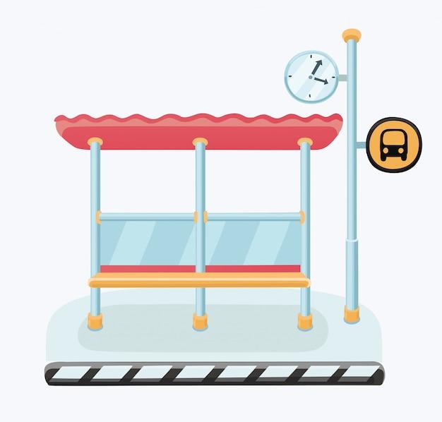 都市のスカイラインと背景のボートで川とバス停のイラスト。スタイル。 Premiumベクター