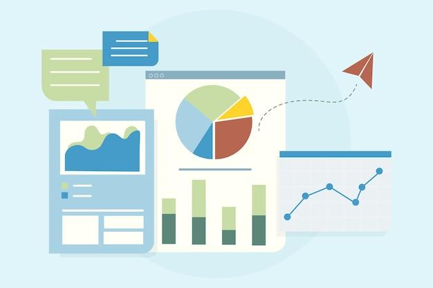 Иллюстрация анализа бизнес-графов Бесплатные векторы