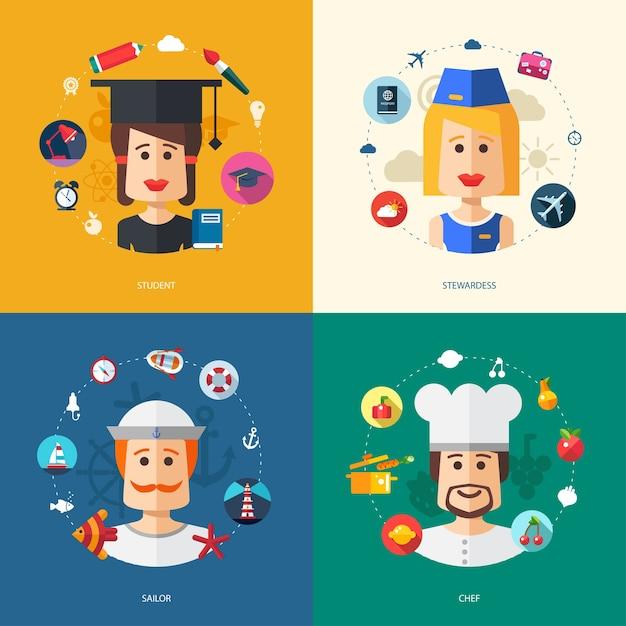 Иллюстрация бизнес-иллюстраций с людьми профессий Premium векторы