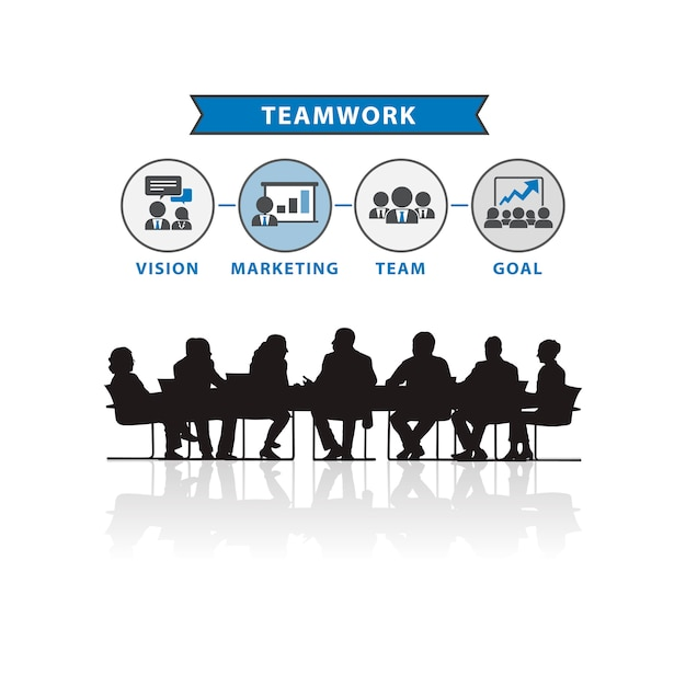 Illustration of business people in the\ meeting