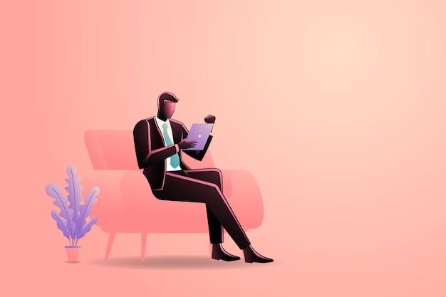 タブレットを保持しながらソファに座っているビジネスマンのイラスト Premiumベクター