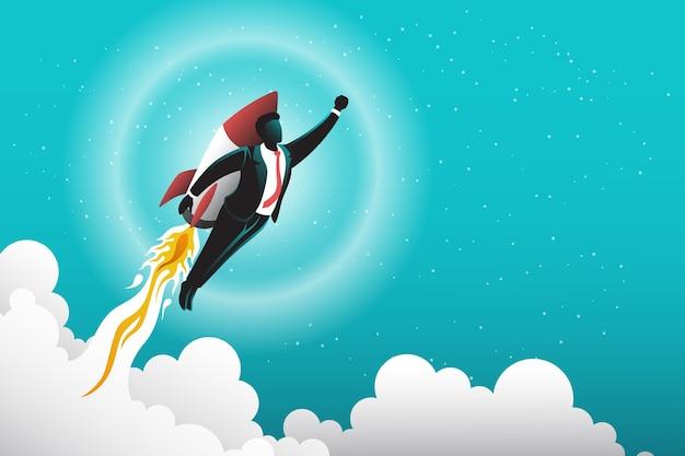 Иллюстрация бизнесмена с ракетой в небо Premium векторы