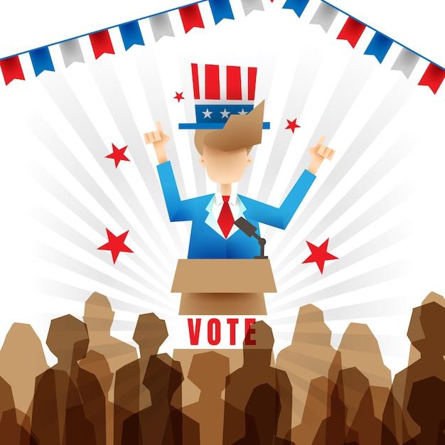 大統領選挙の候補者のイラスト 無料ベクター