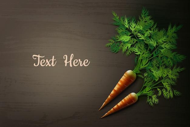 Иллюстрация моркови на деревянном столе Бесплатные векторы