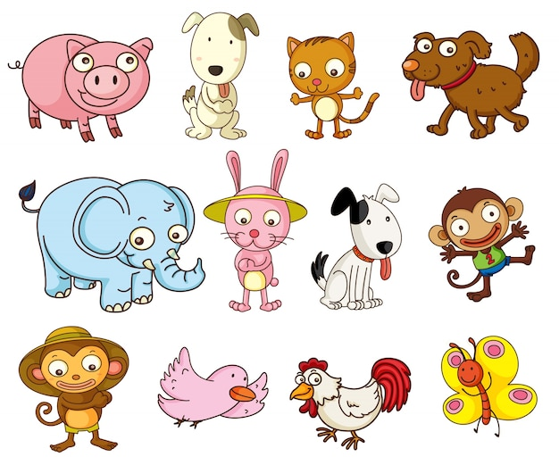 Illustration of cartoon animals on white