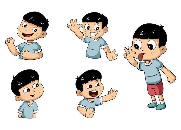 漫画少年ステッカーセットのイラスト Premiumベクター