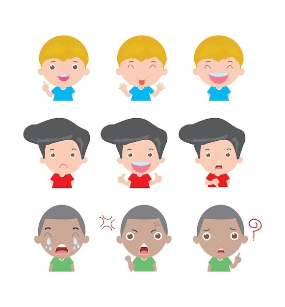 Иллюстрация мультипликационных детей с разными эмоциями изолированы Premium векторы