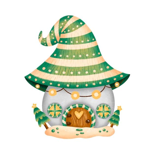 Иллюстрация мультфильма рождественский дом гнома Premium векторы