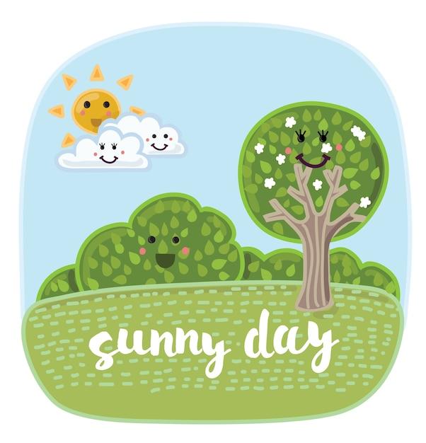 笑顔で面白い自然要素を持つ漫画かわいい夏の風景のイラスト。 Premiumベクター