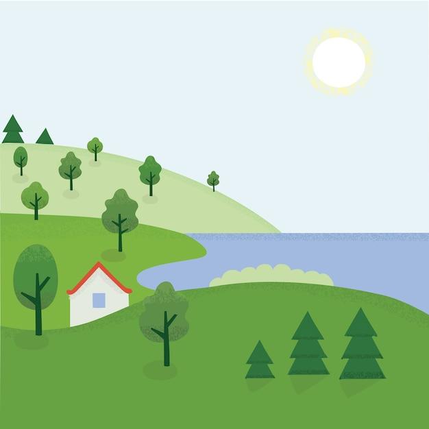 Rhe 시골의 만화 여름 풍경 그림 프리미엄 벡터