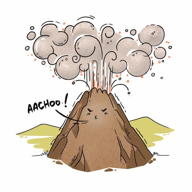 Иллюстрация мультяшного вулкана, чихающего извержения пепла Premium векторы