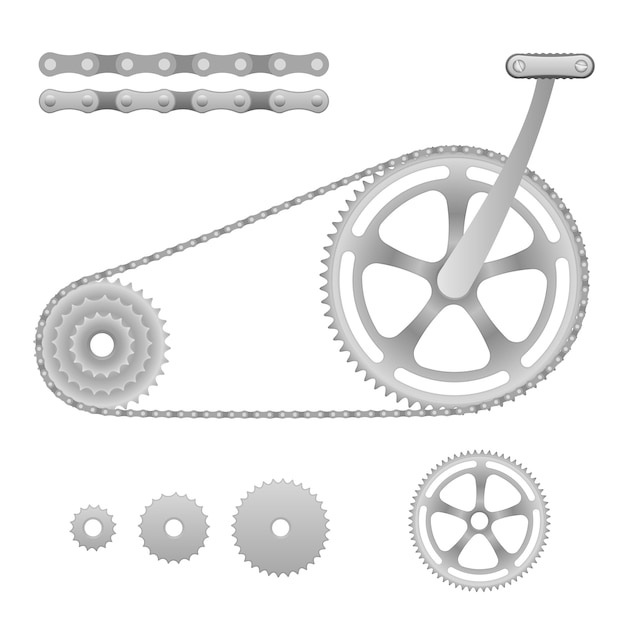 Иллюстрация велосипеда цепной передачи с педалью Бесплатные векторы