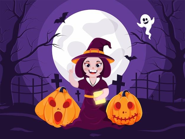 잭-오-랜턴, 비행 박쥐와 보름달 보라색 묘지보기 배경에 유령 쾌활 한 마녀 지주 책의 그림. 프리미엄 벡터