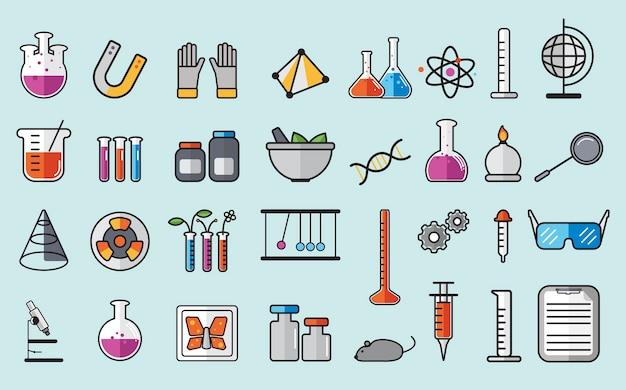 Иллюстрация набора лабораторных инструментов химии Бесплатные векторы