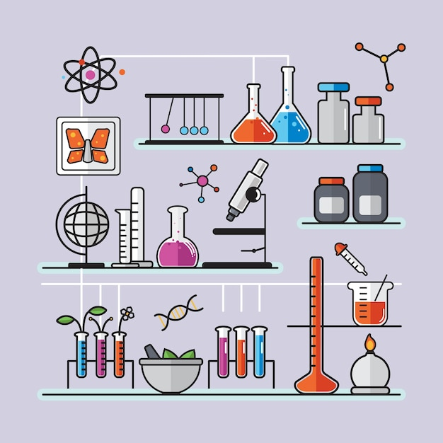 Illustration of chemistry laboratory instruments set Free Vector