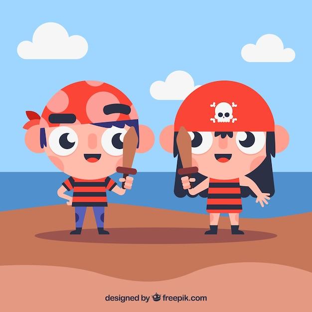 Illustration of children disguised as pirates in flat design Premium Vector