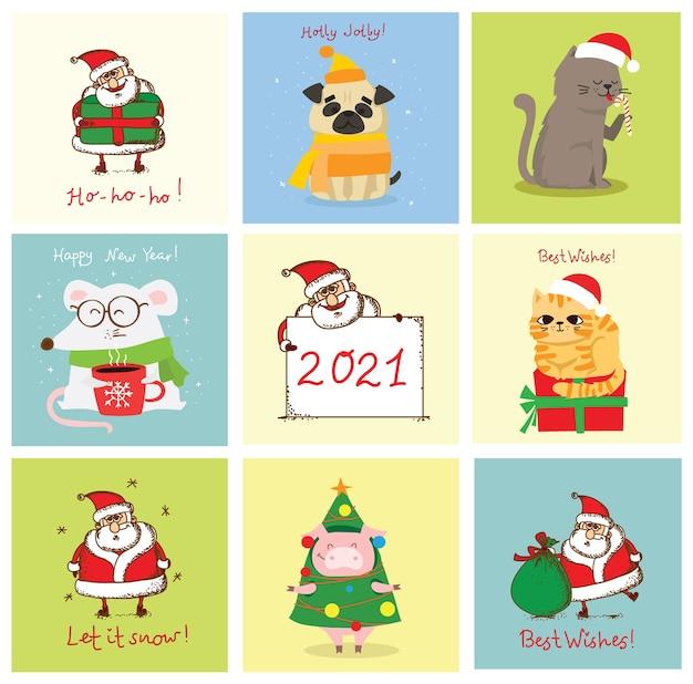 크리스마스 고양이, 돼지, 쥐 및 개 크리스마스와 새 해 인사와 그림. 휴일 모자와 선물을 가진 귀여운 애완 동물. 프리미엄 벡터