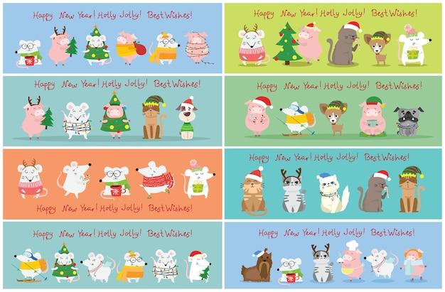 크리스마스 고양이, 쥐, 돼지와 강아지 크리스마스와 새 해 인사와 그림. 플랫 스타일의 휴가 모자와 귀여운 애완 동물 프리미엄 벡터