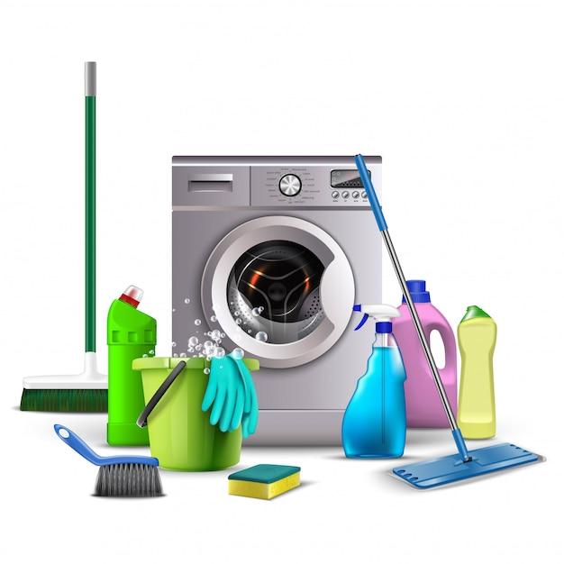 Иллюстрация моющих средств, кухонное и сантехническое оборудование для стирки, унитаз, метла, ведро с водой и губкой, стиральная машина с метлами .. Premium векторы
