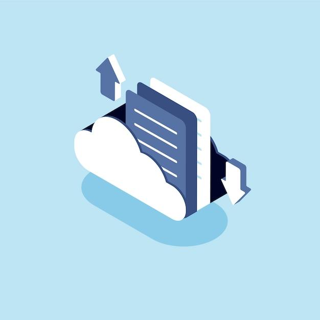 Иллюстрация облака с концепцией облачного хранилища Бесплатные векторы
