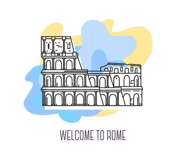 Иллюстрация колизея римская достопримечательность символ италии достопримечательности европы Premium векторы
