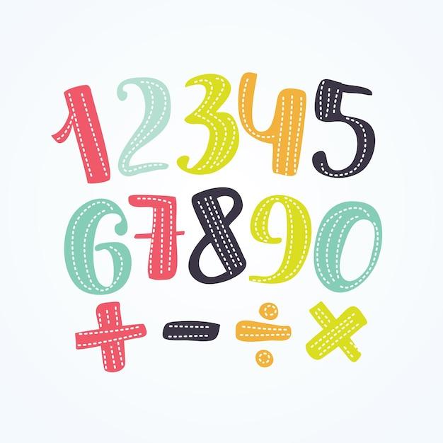 Иллюстрация красочных номеров набор знаков Premium векторы