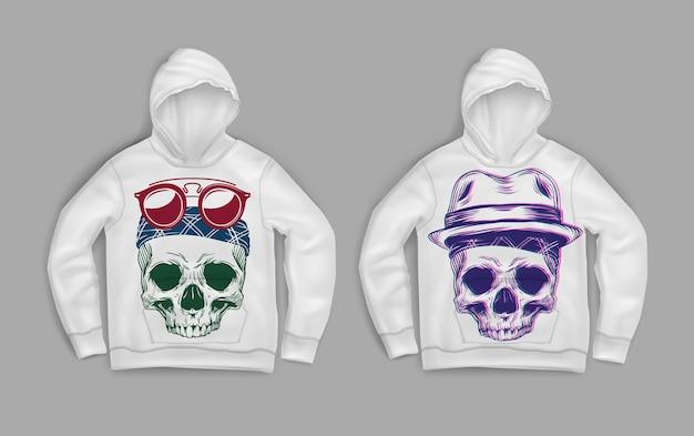 Иллюстрация разноцветных черепов, напечатанных на белом свитере с капюшоном Premium векторы