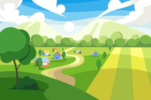 Иллюстрация красочного сельского пейзажа Бесплатные векторы