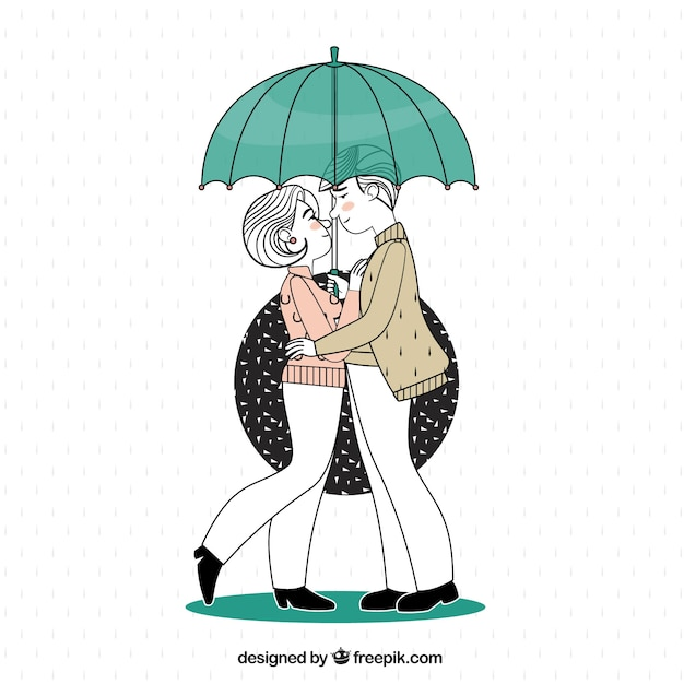 Illustration of couple in love under an\ umbrella