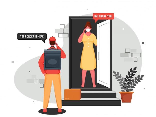 Иллюстрация мальчика-курьера, говорящего с женщиной-клиентом по телефону у двери при бесконтактной доставке во время коронавируса (covid-19). Premium векторы
