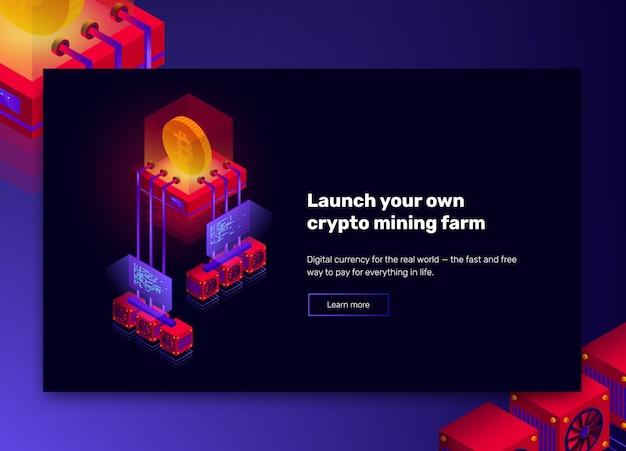 Иллюстрация фермы по добыче криптовалюты, обработка больших данных для биткойнов, изометрическая концепция блокчейна, презентационный баннер в фиолетовых и красных тонах Premium векторы