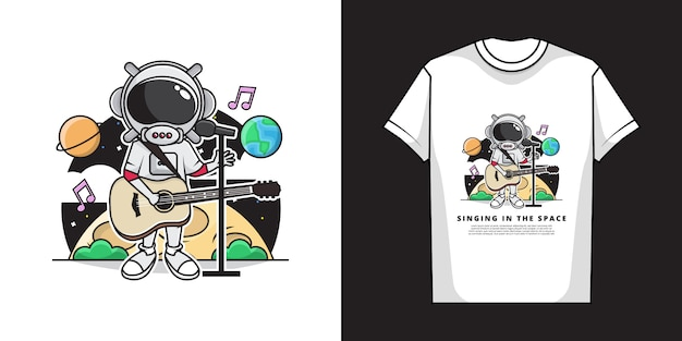 Иллюстрация милого мальчика астронавта поя с играть гитару в космосе. и дизайн футболки. Premium векторы