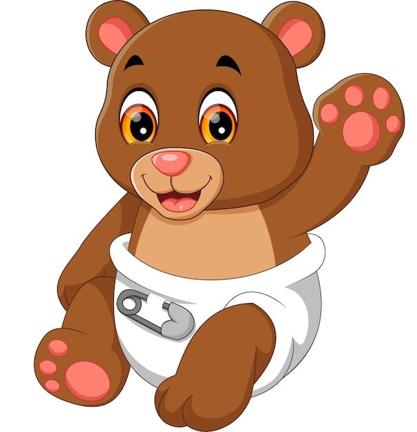 Illustration of cute baby bear cartoon Vector | Premium ...