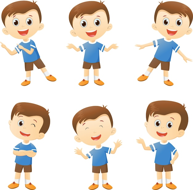 Illustration Of Cute Boy Cartoon Character In Many Action Vector  Premium Download-8268