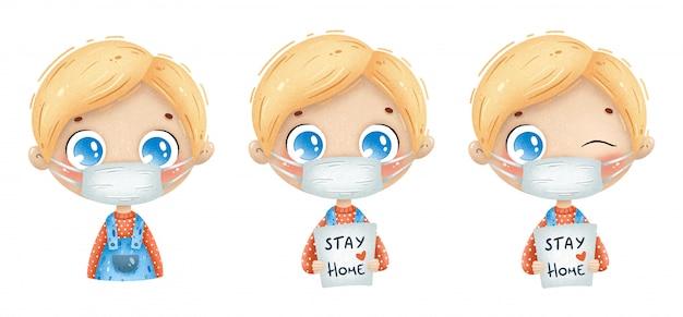 Иллюстрация милого мальчика шаржа нося медицинский лицевой щиток гермошлема. карантинная иллюстрация