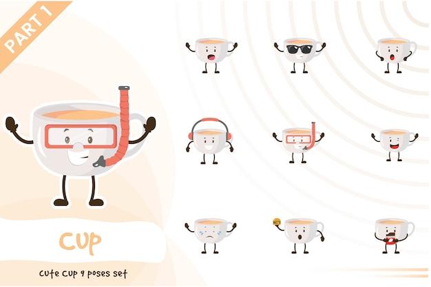 Иллюстрация милый набор чашек Premium векторы