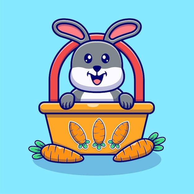 かわいいウサギとニンジンのイラスト。 Premiumベクター