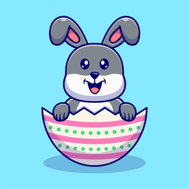 かわいいウサギとイースターエッグのイラスト。 Premiumベクター