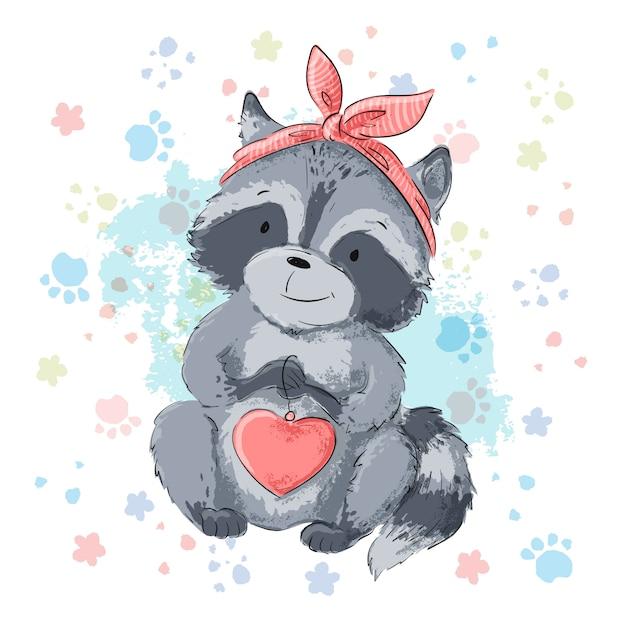 Иллюстрация милый енот с сердцем. мультяшный стиль вектор Premium векторы