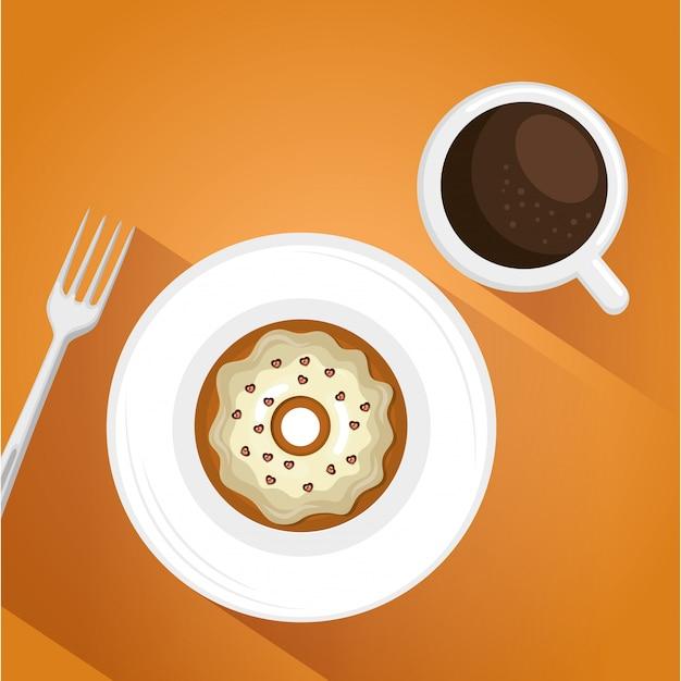 おいしいコーヒーカップとドーナツのイラスト 無料ベクター