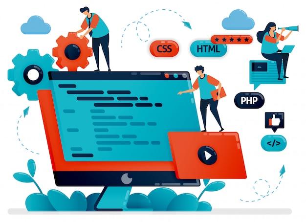 プログラム、web、モニター画面またはデスクトップ上のアプリの設計の図。プログラミングの開発におけるチームワーク。開発プロセスのデバッグ Premiumベクター