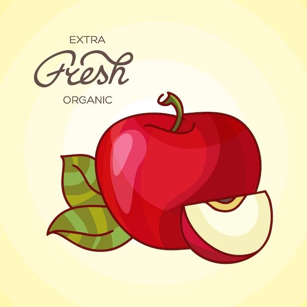 詳細大きな光沢のある赤いリンゴのイラスト 無料ベクター