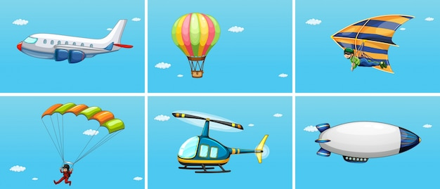 Illustration of different ways of\ transportations in the sky