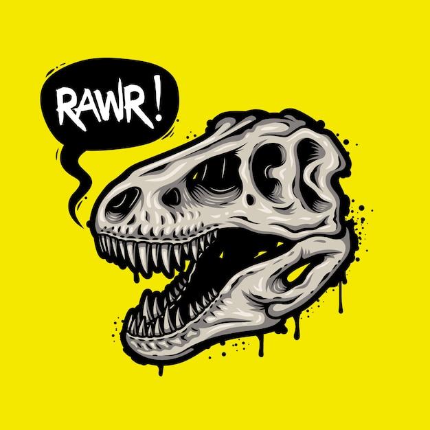 吹き出しと恐竜の頭蓋骨のイラスト。ティラノサウルスレックス。 tシャツプリント 無料ベクター