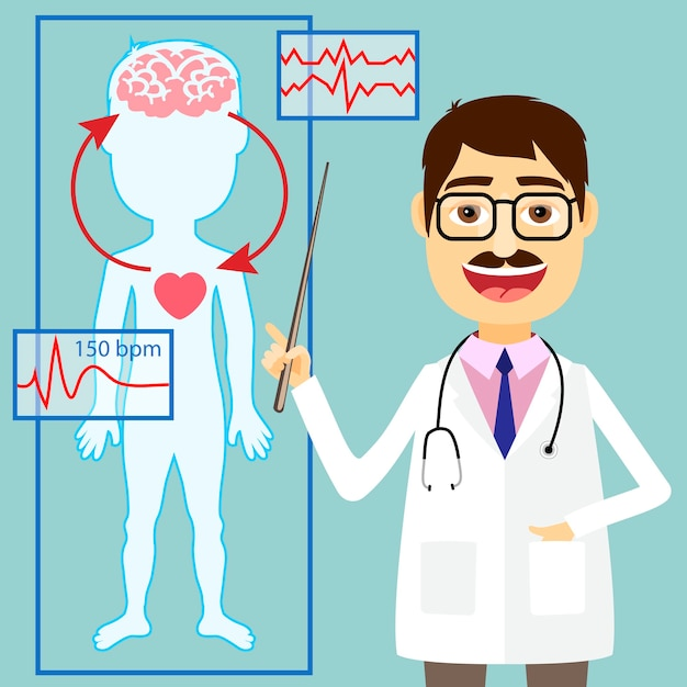 심전도 추적으로 심장과 뇌 사이의 혈압과 순환계의 다이어그램을 가리키는 의사의 그림 무료 벡터
