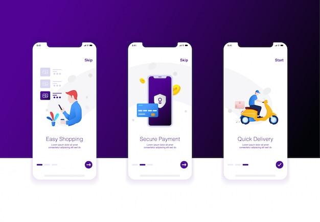 Иллюстрация шага электронной коммерции, удобных покупок, безопасной оплаты и быстрой доставки Premium векторы