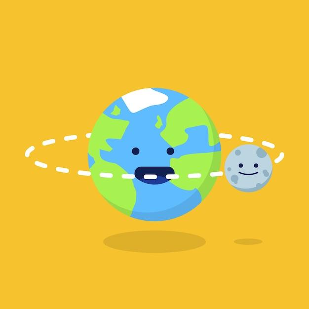 プレミアムベクター 地球と月のイラスト