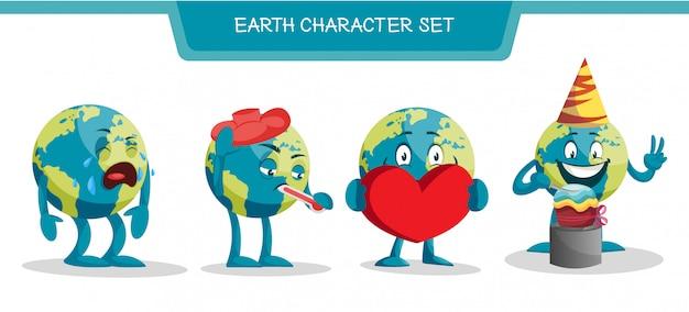 地球の文字セットのイラスト Premiumベクター