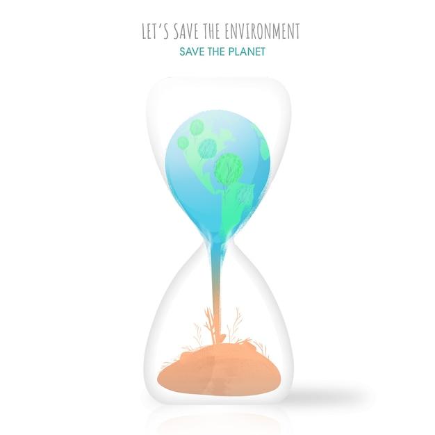 環境と地球を救うために白い背景の砂時計に沈む地球のイラスト。 Premiumベクター