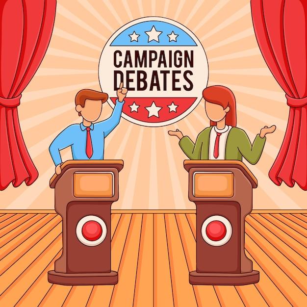 選挙運動シーンのイラスト Premiumベクター